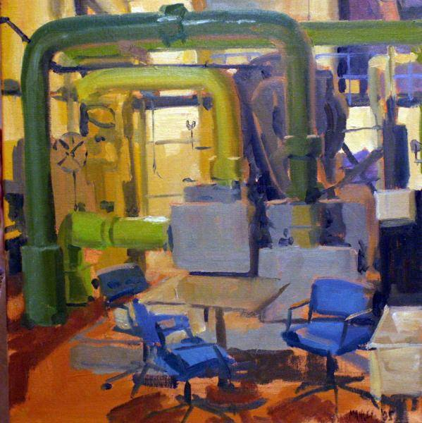 Painting of the inside of the Central Utilities Building on GVSU's Allendale campus by Perin Mahler.